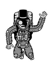 sir herr gentlemen zylinder hut monokel reich astronaut weltall kosmonaut raumfahrer raumschiff rakete science fiction weltraumfahrer forscher fliegen schweben schwerelos raumanzug zukunft