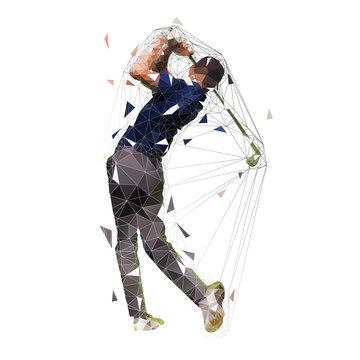 Golf player, low polygonal golfer vector isolated illustration. Golf swing