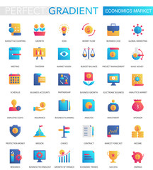 Vector set of trendy flat gradient Economics market icons.