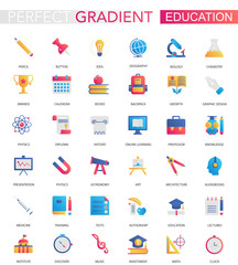 Vector set of trendy flat gradient Education icons.