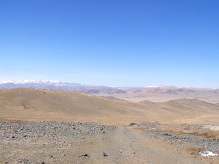 Mongolian natural landscapes surrounded by mountains and rocks