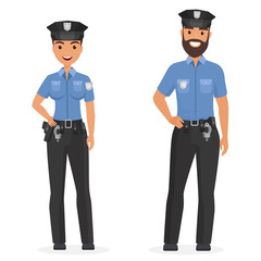Two young happy police officers, man and woman isolated cartoon vector illustration.