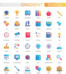 Vector set of trendy flat gradient School education icons.