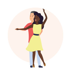 Happy romantic caucasian man and african american woman. Time together. Couple dancing in love vector illustration.