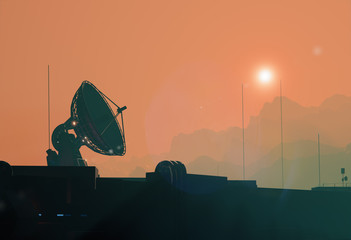 Satellite antenna dish silhouette of the space base on Mars, 3d illustration
