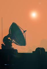 Satellite antenna dish close up. Space base on Mars, 3d illustration