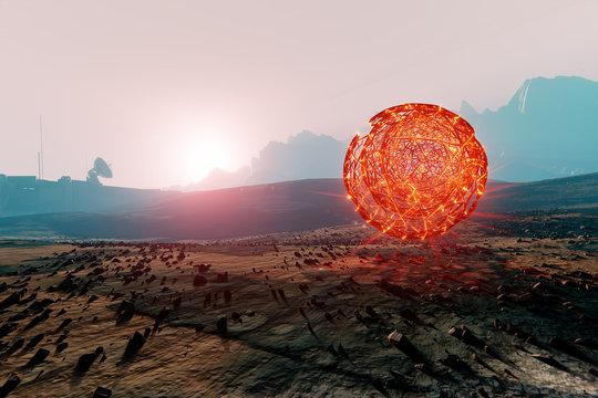 Landscape of Mars, floating red sphere, distant space base radar