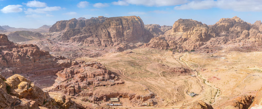 aerial view of Al Habis mountain, Qasr al Bint, Colonnaded street, Great temple and temple of winged lions in Petra, Jordan