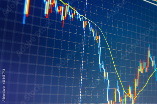 Candle stick graph chart  Stock market graph on the screen
