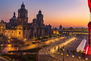 Metropolitan Cathedral Sunrise Zocalo Mexico City Mexico