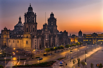 Metropolitan Cathedral Presidential National Palace Sunrise Mexico City Mexico