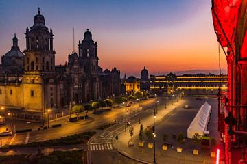 Metropolitan Cathedral Zocalo Mexico City Mexico Sunrise