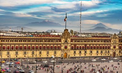 Presidential National Palace Balcony Snow Mountain Mexico City Mexico