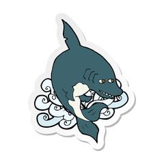 sticker of a funny cartoon shark
