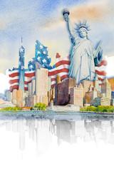 Painting landmark travel in USA.
