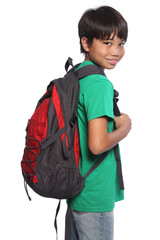 Mixed race oriental school boy with red backpack