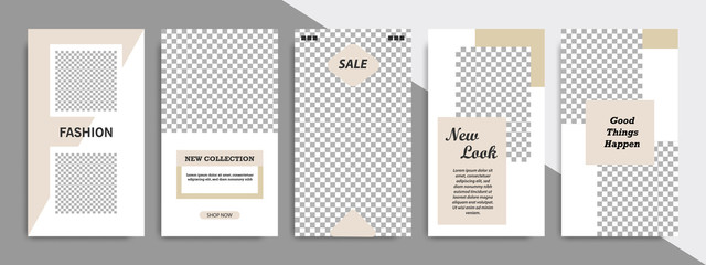 Modern minimal square shape template in soft satin brown color with frame. Corporate advertising template for social media stories, story, business banner, flyer, brochure in white background.