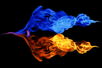 Yin-yang symbol, fire and ice background