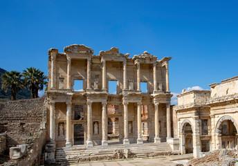 Recess Fitting Ruins Ephesus historical ancient city. Selcuk / Izmir / Turkey