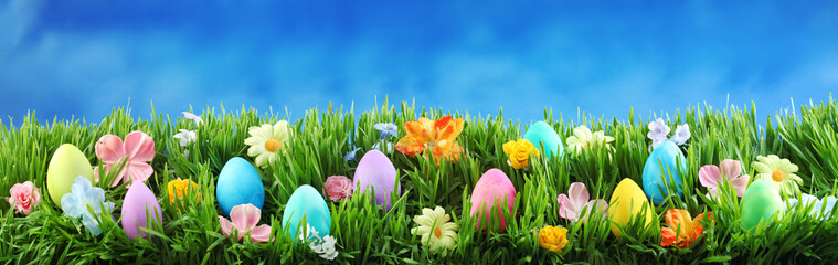 Bright colorful Easter eggs on green grass with flowers against blue sky