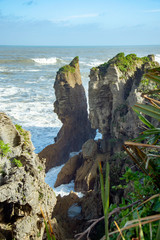 Pancake Rocks Blowholes,South Island New Zealand