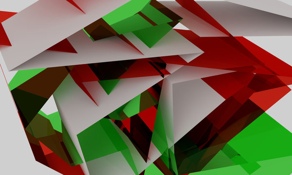3D illustration of red and green  background