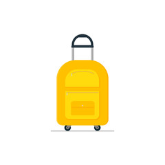 Travel suitcase on wheels with telescopic handle. Tourist luggage. Bright yellow cloth bag. Baggage of traveler. Flat vector icon