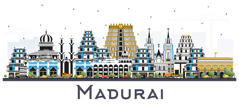 Madurai India City Skyline with Color Buildings Isolated on White.