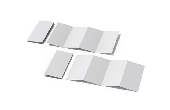 Accordion fold brochure, four fold brochure, eight pages four panel leaflet, concertina fold mock up template on isolated white background, 3d illustration