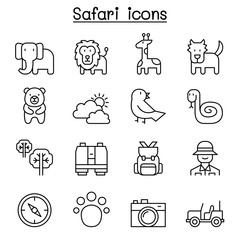 Safari , animal, wildlife, animal icon set in thin line style