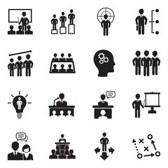 Business Training Icons. Black Flat Design. Vector Illustration.