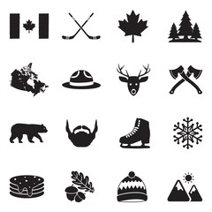 Canada Icons. Black Flat Design. Vector Illustration.