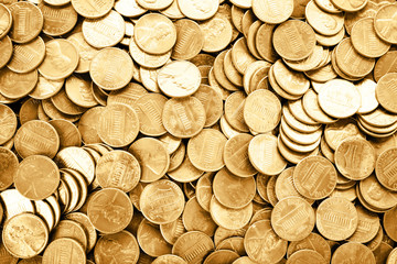 Many shiny USA one cent coins as background, top view Fototapete