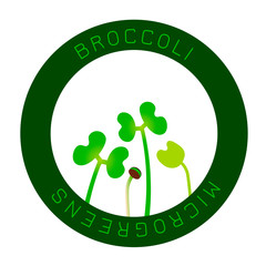 Microgreens Broccoli. Seed packaging design, round element in the center
