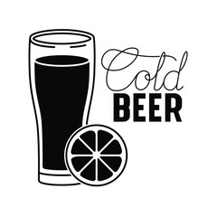 cold beer label isolated icon