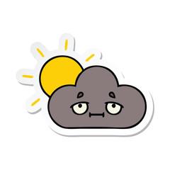 sticker of a cute cartoon storm cloud and sun