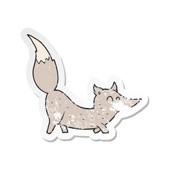 Fotobehang Cartoon draw retro distressed sticker of a cartoon little wolf