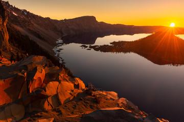 Crater Lake National Park at sunrise, Oregon, USA