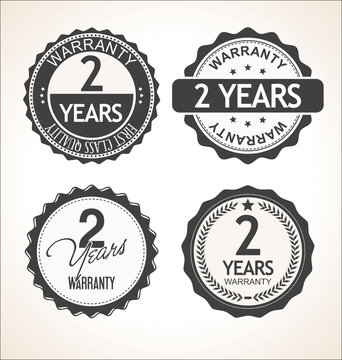 Two years warranty retro vintage badge and labels collection