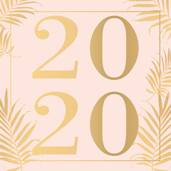 Happy new year pink 2020 Text Design Vector illustration