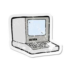 retro distressed sticker of a cartoon old computer