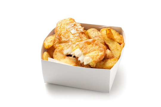 Disposable container with British Traditional Fish and potato chips on white background