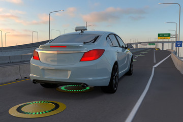 Smart car with wireless charging on road, Future electric vehicle concept