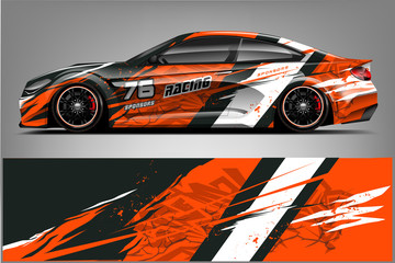 Sport car racing wrap design. vector design. - Vector