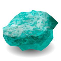 Emerald stone rough. Cluster crystal. Precious stone, gemstone, mineral.