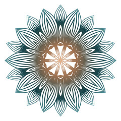 Mandala Pattern. Traditional Indian Mandala. Orient Tribal Circle Sign Illustration. Vector Illustration. Brown green pastel color