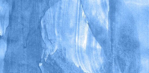Abstract watercolor background hand-drawn on paper. Volumetric smoke elements. Blue color. For design, web, card, text, decoration, surfaces.