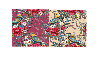 Elegance pattern with flowers and birds splendor of the 80's, chic bird chains flowers beautiful background in expensive style