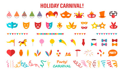 A set of different elements for a carnival or circus. Vector illustration on white isolated background