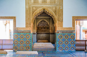 Decorated interior in the Saadian Tombs in Marrakech, Morocco